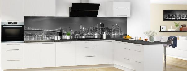 Crédence de cuisine New York Noir & Blanc panoramique motif inversé en perspective