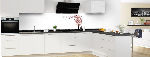 Crédence de cuisine Arbre d'amour couleur rouge carmin panoramique motif inversé en perspective