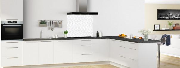 Crédence de cuisine Ecailles Magnolia couleur gris clair fond de hotte en perspective