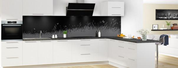 Crédence de cuisine Prairie et papillons couleur noir panoramique motif inversé en perspective