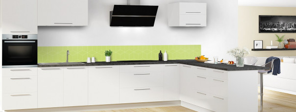 Crédence de cuisine Cubes en relief couleur vert olive dosseret en perspective