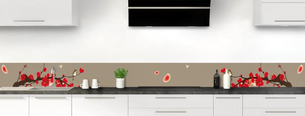 Crédence de cuisine Cerisier japonnais couleur marron glacé dosseret motif inversé