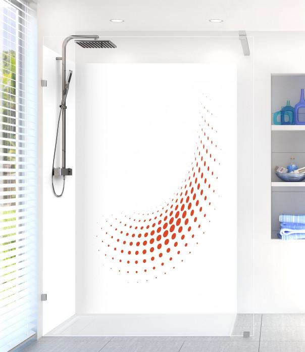 Panneau de douche Nuage de points couleur rouge brique motif inversé