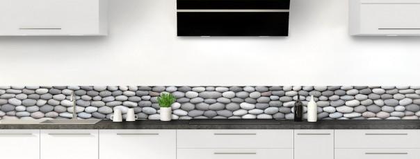 Crédence de cuisine Mur de galets gris dosseret