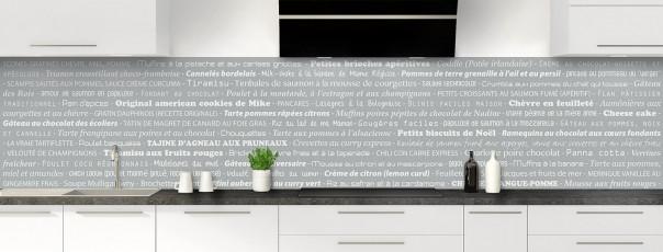 Crédence de cuisine Recettes de cuisine couleur gris métal panoramique