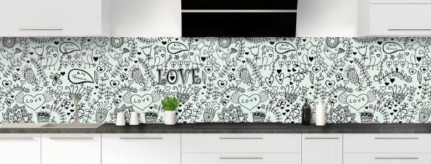 Crédence de cuisine Love illustration couleur vert eau panoramique