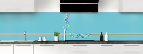 Crédence de cuisine Light painting couleur bleu lagon panoramique