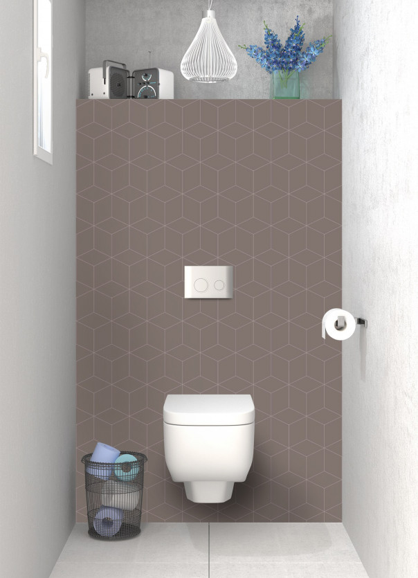 Panneau WC Cubes en relief couleur taupe