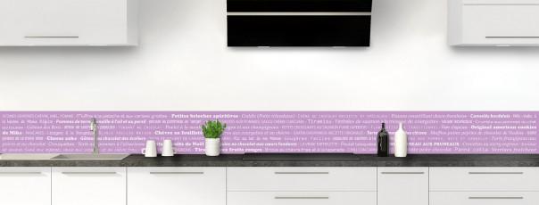 Crédence de cuisine Recettes de cuisine couleur parme dosseret