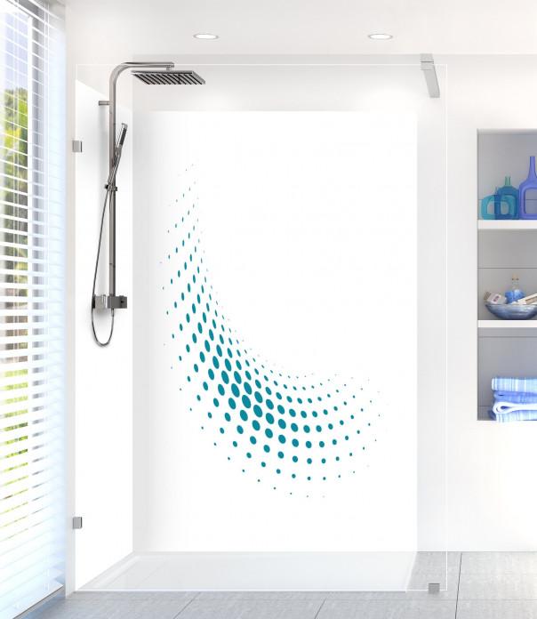 Panneau de douche Nuage de points couleur bleu canard
