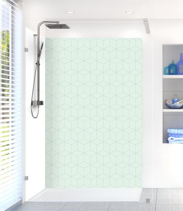Panneau de douche Cubes en relief couleur vert eau