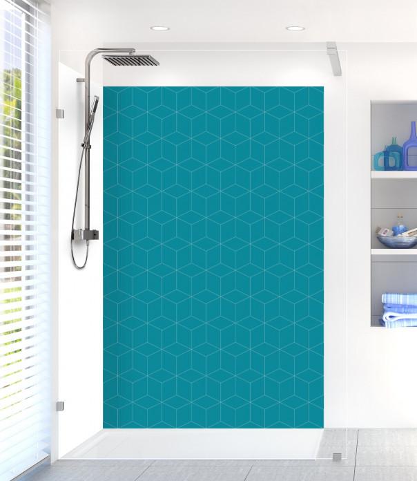 Panneau de douche Cubes en relief couleur bleu canard