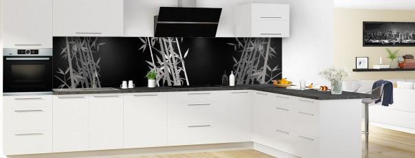 Crédence de cuisine Bambou zen couleur noir panoramique motif inversé en perspective
