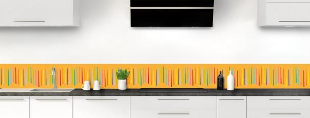 Crédence de cuisine Barres colorées couleur abricot dosseret
