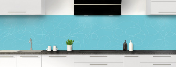 Crédence de cuisine Gribouillis couleur bleu lagon panoramique