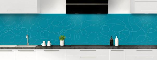 Crédence de cuisine Gribouillis couleur bleu canard panoramique