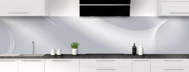 Crédence de cuisine Volute couleur gris métal panoramique motif inversé