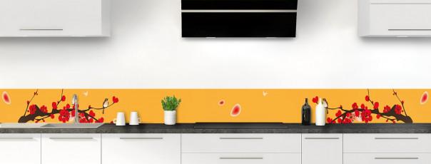 Crédence de cuisine Cerisier japonnais couleur abricot dosseret motif inversé