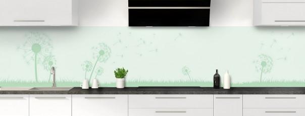 Crédence de cuisine Pissenlit au vent couleur vert eau panoramique