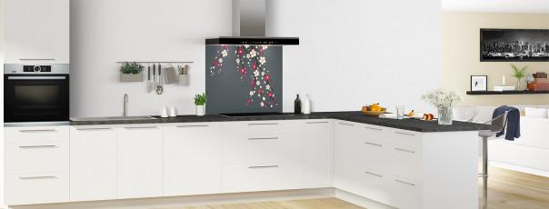 Crédence de cuisine Arbre fleuri couleur gris carbone fond de hotte en perspective