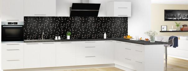 Crédence de cuisine Rideau de feuilles couleur noir panoramique en perspective