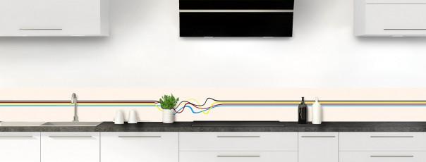 Crédence de cuisine Light painting couleur magnolia dosseret motif inversé