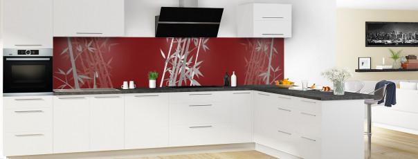 Crédence de cuisine Bambou zen couleur rouge pourpre panoramique en perspective