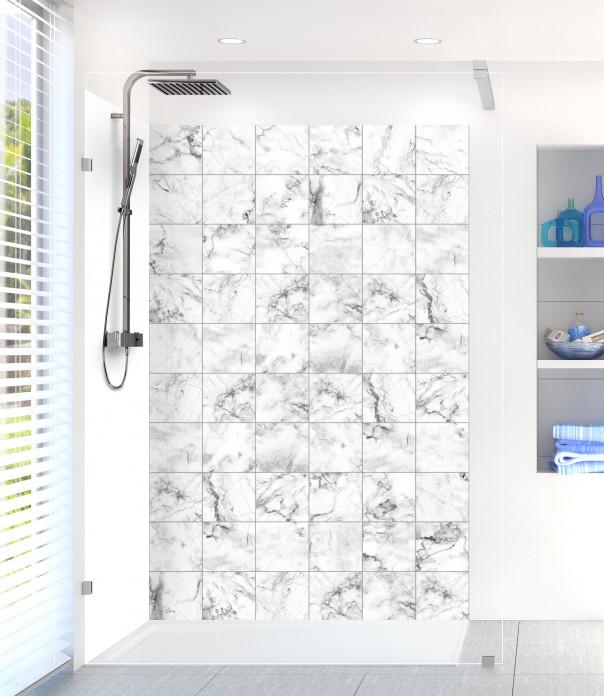Panneau de douche Carreaux marbre blanc