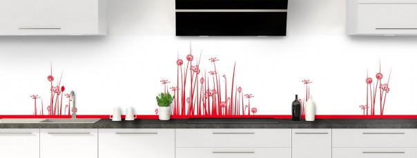 Crédence de cuisine Graminées couleur rouge vif panoramique