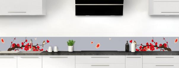 Crédence de cuisine Cerisier japonnais couleur gris métal dosseret motif inversé
