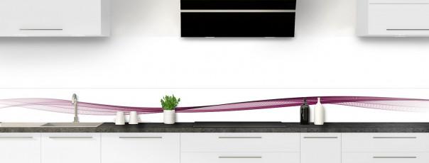Crédence de cuisine Vague graphique couleur prune dosseret motif inversé
