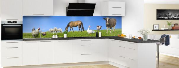 Crédence de cuisine Animaux et prairie panoramique motif inversé en perspective