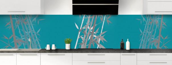 Crédence de cuisine Bambou zen couleur bleu canard panoramique