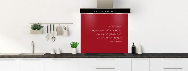 Crédence de cuisine  Citation Paul Gauguin couleur rouge carmin fond de hotte