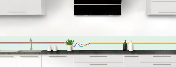 Crédence de cuisine Light painting couleur vert eau dosseret motif inversé