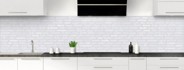 Crédence de cuisine Etapes de recette couleur gris clair panoramique