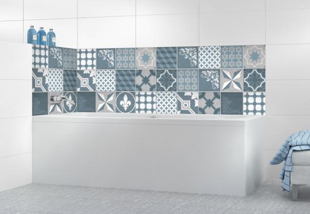 Panneau de bain Carreaux de ciment trendy chic bleu