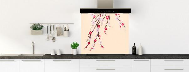Crédence de cuisine Arbre fleuri couleur sable fond de hotte motif inversé