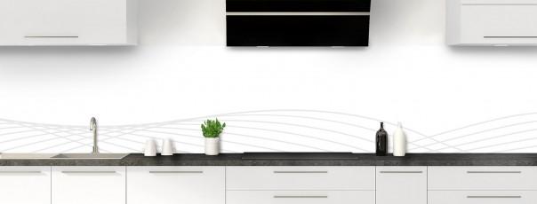 Crédence de cuisine Courbes couleur blanc panoramique motif inversé