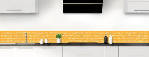 Crédence de cuisine Etapes de recette couleur abricot dosseret