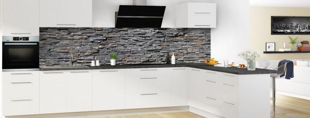 Crédence de cuisine Pierres plates grises panoramique en perspective