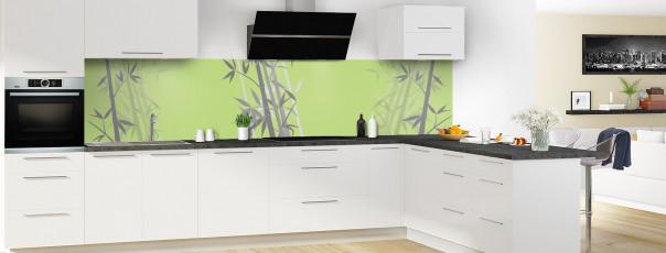 Crédence de cuisine Bambou zen couleur vert olive panoramique motif inversé en perspective