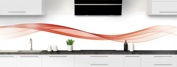 Crédence de cuisine Vague graphique couleur rouge brique panoramique