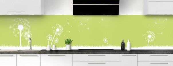 Crédence de cuisine Pissenlit au vent couleur vert olive panoramique