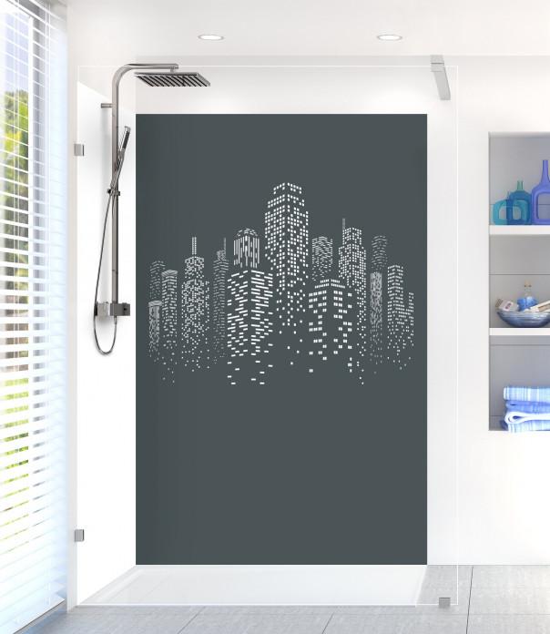 Panneau de douche Gratte-ciels couleur gris carbone motif inversé