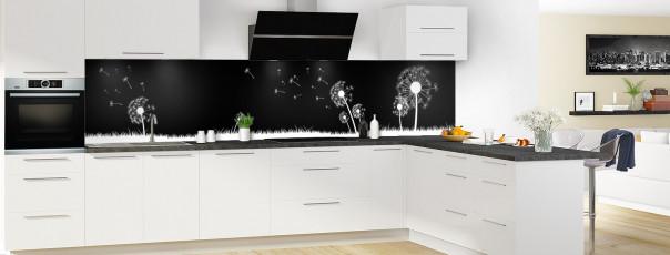 Crédence de cuisine Pissenlit au vent couleur noir panoramique motif inversé en perspective