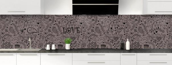 Crédence de cuisine Love illustration couleur taupe panoramique