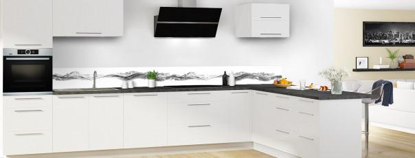 Crédence de cuisine Water Splash Noir dosseret en perspective