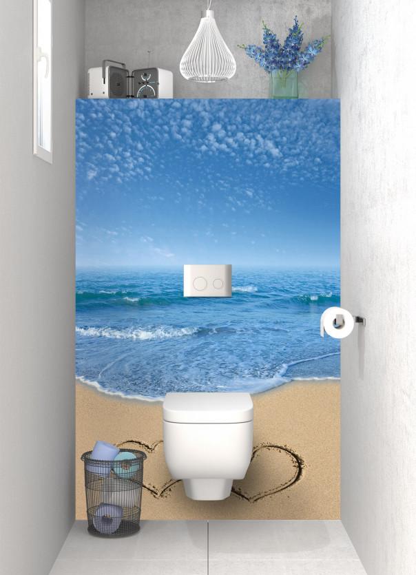 Panneau WC Cœurs sur le sable motif inversé