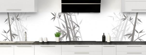 Crédence de cuisine Bambou zen couleur blanc panoramique motif inversé